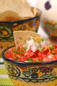 Spicy Salsa With Tortilla Chips poster