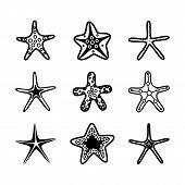 Starfish Set. Underwater Background Cartoon Starfish Vector Illustration. poster