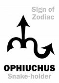 Astrology Alphabet: 13th Sign Of Zodiac Ophiuchus / Serpentarius (the Snake-holder), Constellation B poster