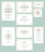 Set Wedding Invitations Cards Flourishes Ornaments. Invite, Save The Date, Table Number And Informat poster
