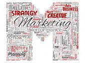 Conceptual development business marketing target letter font M word cloud isolated background. Colla poster
