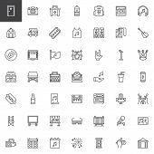 Music Festival Outline Icons Set. Linear Style Symbols Collection, Line Signs Pack. Vector Graphics. poster