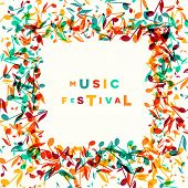 Colorful Music Festival Notes Background. Vector Illustration poster