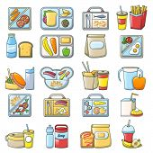 Lunch Break Lunch Food Icons Set. Cartoon Illustration Of 16 Lunch Break Lunch Food Vector Icons For poster