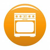 Domestic Gas Oven Icon. Simple Illustration Of Domestic Gas Oven Vector Icon For Any Design Orange poster