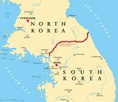 Korean Peninsula, Demilitarized Zone, Political Map. North And South Korea With Military Demarcation poster
