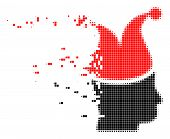 Dispersed Joker Dot Vector Icon With Disintegration Effect. Square Pixels Are Grouped Into Damaging  poster