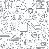 Dry Cleaning, Laundry Seamless Pattern With Line Icons. Laundromat Service Equipment, Washing Machin poster