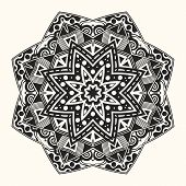 Vector Zentangle Template. Round Ornament. poster