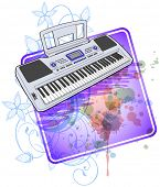 Electronic musical midi keyboard - synth & floral calligraphy ornament - a stylized orchid, color pa