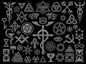 Medieval Occult Signs And Magic Stamps, Sigils, Locks, Knots. Mystic Symbols Of The Illuminati, Maso poster