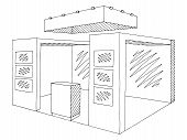Exhibition Stand Graphic Interior Black White Sketch Illustration Vector poster
