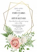 Wedding Floral Invite, Invtation Card Design. Watercolor Style Blush Pink Rose, White Garden Peony F poster
