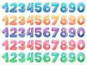 Set Of Color Cartoon Numbers. Rainbow Candy And Glossy Funny Cartoon Symbols. Vector Collection Of D poster