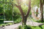 Wooden Swing On Ropes And Hammock Under The Big Tree In The Garden poster