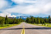 Road from Yellowstone National Park to Grand Teton National Park, Wyoming, USA poster