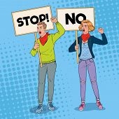 Pop Art Angry Man And Woman Protesting On The Picket With Banners. Strike And Protest Concept. Peopl poster