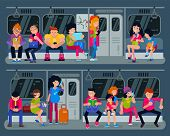 Subway Vector People In Metro And Passengers In Underground Using Urban Public Transport Illustratio poster
