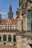 picture of foreshortening  - foreshorten of  baroque museum building with castle in background - JPG