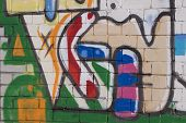 Beautiful Street Art Of  Abstract Color Creative Drawing Fashion On Walls Of City. Urban Contemporar poster
