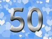 pic of 50th  - The number fifty 50 in silver with blue hearts background 50th anniversary - JPG