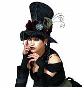 stock photo of mad hatter  - A nice young woman in gothic dress - JPG