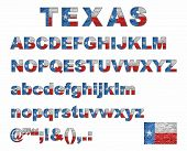 Texas Flag Font On A Brick Wall - Illustration, Stylized Alphabet With Flag Of Texas,  Flag Of Engli poster