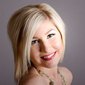 foto of pouty lips  - beautiful blond with green eyes nude headshot - JPG