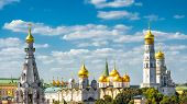 Golden Domes Of Churches And Cathedrals Of Moscow Kremlin, Russia. Ancient Moscow Kremlin Is The Mai poster