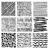 Hand Drawn Textures, Template. Hatching Drawn Pattern Set, Vector Design Elements. Vector Set Of Bac poster