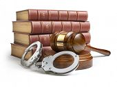 Judge gavel and handcuffs with legal book isolated on white background. Law and justice concept. 3d  poster
