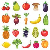 Fruits Pixel Vegetables Vector Healthy Nutrition Of Fruity Apple Banana And Vegetably Carrot For Veg poster
