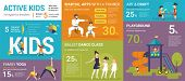 Active Kids Infographics Vector Illustration Of Children Classes With Graphs And Diagrams. Flat Temp poster