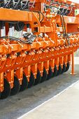 Agricultural Machinery. Disk Seeder. Agricultural Machinery In Agricultural Fair. Parts And Componen poster