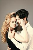 Desire Love Plesure Concept. Girl With Long Blond Hair And Hipster With Beard, Mustache. Couple In L poster