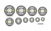 Set Different Gray Weight Plates, Weights Numbered. Illustration Vector Set For Barbells. Wish Gym,  poster