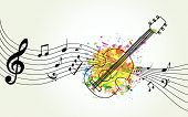 Music Colorful Background With Music Notes And Guitar Vector Illustration Design. Music Festival Pos poster