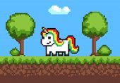 Cheerful Pixel Pony Horse On Cute Green Meadow, Vector Illustration, Green Grass, Pixel Trees And Bu poster