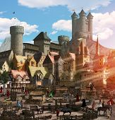 Enchanting View Of A Medieval Fantasy Town With A Marketplace, People, Animals, Many Houses And A To poster