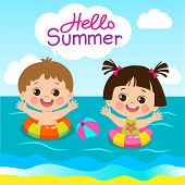 Fun Summer Activities For Kids. Summer Kids Vector. Happy Children Playing On The Beach Flat Vector  poster