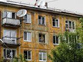 Soviet Apartment Building. Apartment Block. Soviet Architecture. Green Trees. Concrete Apartment Bui poster