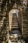 Staircase And Entrance. Beautiful Warm Spring Day And Archeological Ruins At Butrint National Park,  poster