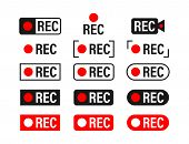 Rec. Set Recording Sign. Currently Recording. Vector Stock Illustration. poster
