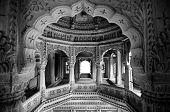 picture of jain  - Intricate carvings in the interior of the famous Amar Sagar jain temple in Jaisalmer Rajasthan - JPG