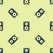 Blue Stereo Speaker Icon Isolated Seamless Pattern On Yellow Background. Sound System Speakers. Musi poster