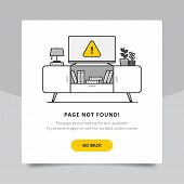 Page Not Found 404 Design Tamplate. 404 Error Page Flat Line Concept. Link To A Non-existent Page. T poster