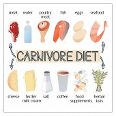 Vector Illustration Image Of Products For Carnivore Diet. poster
