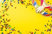 Festive Yellow Background With Colorful Carnival Mask. Greeting Card Concept Voor Birthday, Carnival poster