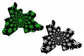 Centre Region (regions Of Burkina Faso, Burkina Faso) Map Is Designed Cannabis Leaf Green And Black, poster