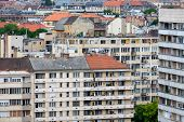 Aerial View Residential Area Hungarian Budapest With Apartment Buildings poster